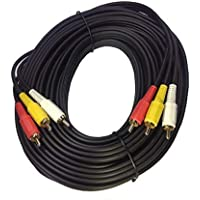 Kebilshop 20 Mtr 3 RCA Male to 3 RCA Male Composite Audio Video Cable.(20 Mter 66 feet).