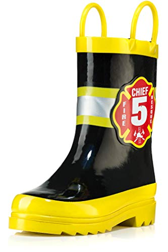 Puddle Play Toddler and Kids Waterproof Rubber Rain Boots with Easy-On Handles Boys and Girls Colors and Designs (8 Toddler, Black Fire Chief)