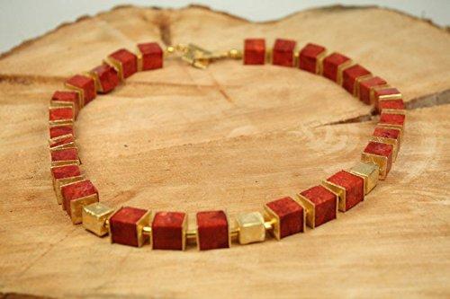 Schaumkoralle mit goldenen W/ürfeln W/ürfel-Kette Gold /& Rot