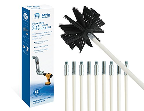 (Fette Appliance - Flexible Dryer Vent Cleaning Kit, Lint Remover, Extends up to 12 Feet, Synthetic Brush Head, Use with or Without a Power Drill)
