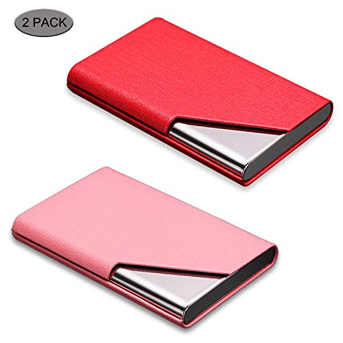 Card Leather Holder Case Business (Business Card Holder, DMFLY 2 Pack Business Card Case - Luxury PU Leather & Stainless Steel Metal Business Card Holder Wallet Credit Card Case/Holder for Women and Men, Magnetic Shut Style (DM-REP1))