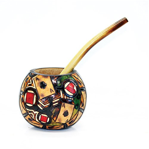 Authentic Mate - Tealyra - Hand Made Carved - Yerba Mate Gourd and Bamboo Bombilla Straw - Made in Argentina - Traditional Drinking Gourd - Authentic Argentinian Mate Cup (#1603)