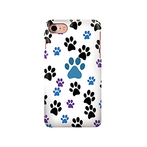 Black Blue Purple Dog Paw Prints Pattern Iphone 7 Case, Protective 7G Cellphone Cover, Lovely Cute Design For Pet Lovers