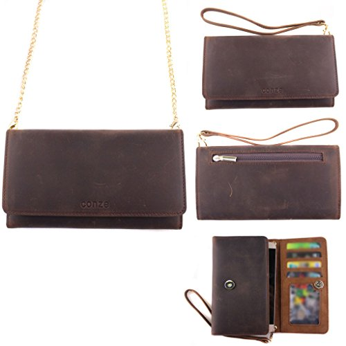 Conze Genuine Leather Purse/Wallet Phone case with Cross Body Strap fits XOLO Q1020 / Opus 3 in Brown (Strap Opus)