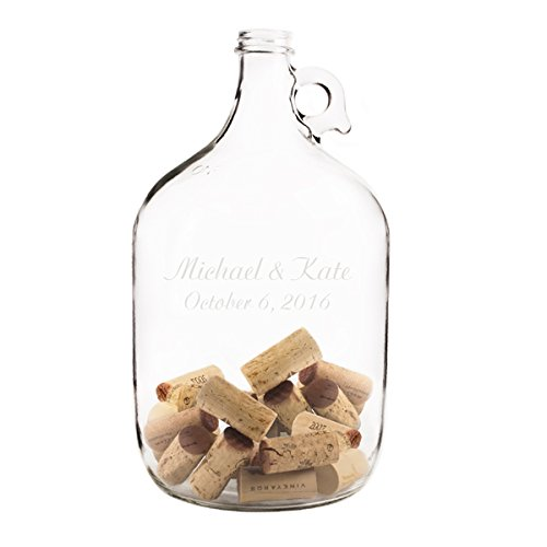 Wedding Wishes in a Bottle Guest Book / Engraved Personalized / 11.5 x 5.5 / One Gallon / Screw-top cap / Carry Handle / Free Personalization]()