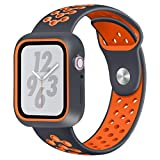 Cywulin Compatible for Apple Watch Band 40mm 44mm, Soft Silicone Sport Wrist Band Loop Replacement Strap Bracelet for iWatch Series 4, Nike+ Sport and Edition (44mm, Orange): more info