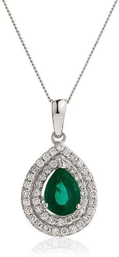 1CT Certified G/VS2 Pear Shape Emerald Centre with Micro Set Pear Shape Halo Diamond Pendant in 18K White Gold