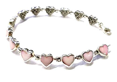 Pink Mother of Pearl Hearts Bracelet Marcasite .925 Sterling Silver (7-3/4 in.) - Mother Of Marcasite Bracelet Pearl