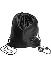 Drawstring Bag Folding Backpack Storage Black