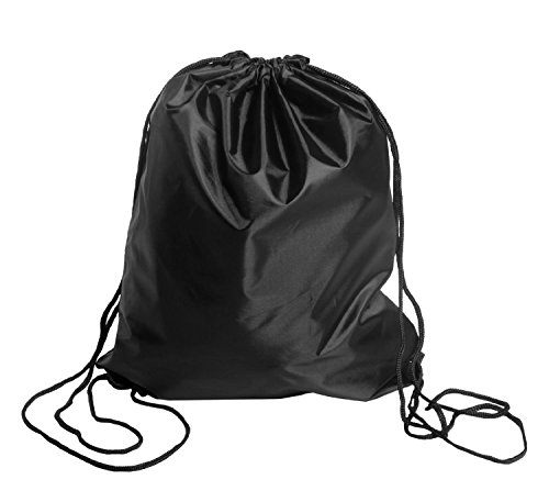 BINGONE Drawstring Bag Folding Backpack Storage Black (Drawstring Bag)