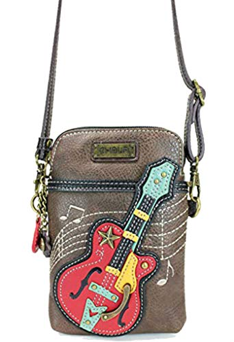 Chala Crossbody Cell Phone Purse - Women PU Leather Multicolor Handbag with Adjustable Strap - Guitar - Brown