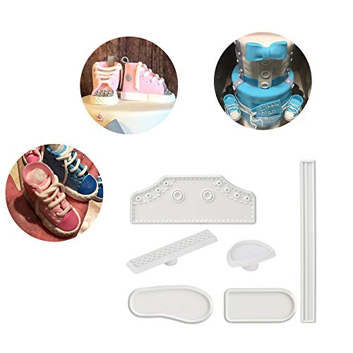 CkeyiN 6pcs Plastic Cute Baby Shoe Shape Fondant Cutting Cake Mold Tools for DIY Birthday Cake Sugar Craft Decorating