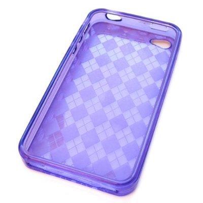 TPU Case for iPhone 4 Checkers Design (Purple)