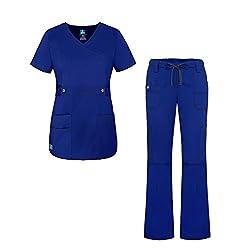 Adar Uniforms Adar Pop-stretch Junior Fit Women's Scrub Set - Crossover Top & Multi Pocket Pants - 3500 - Royal Blue - M