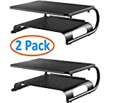 2 Pack- Two Tier, Double Decker Steel Monitor Stand with Rugged, Sturdy, Vibration Free Construction. Holds 50lbs, Laptop, Keyboard, Mouse, Organize Supplies. Vented Cooling. Attractive Black