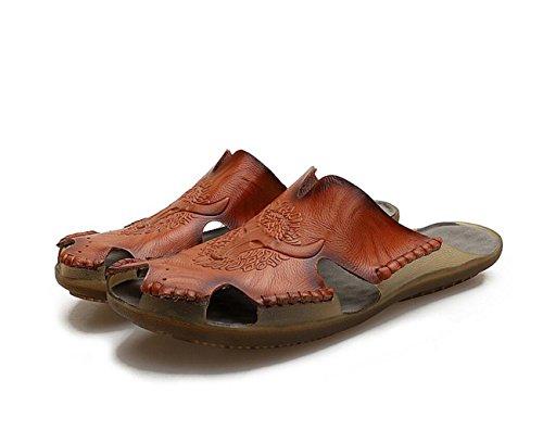 stampa Flip estiva da spiaggia Flop Antiscivolo Fashion da Sandali traspiranti DANDANJIE con Scarpe Scarpe Brown Lazy uomo 1qxAE8Tw8