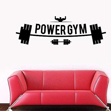 Ajcwhml Fitness Club Power Gym Calcomanía Gimnasio Pegatina con Mancuernas Carteles de Vinilo Tatuajes de Pared de Pared Stickercor Mural Gym Sticker 50X157CM: Amazon.es: Hogar