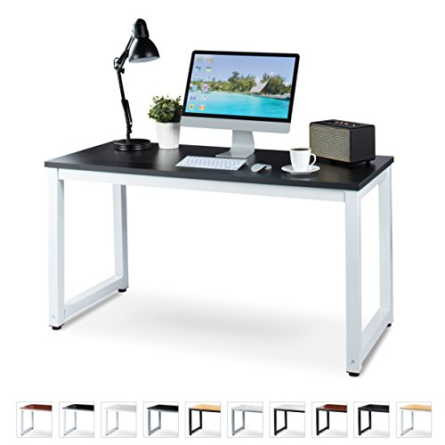 """Luxxetta Office Computer Desk – 55"""" x 23"""" Black Laminated Wooden Particleboard Table and White Powder Coated Steel Frame - Work or Home – Easy Assembly - Tools and Instructions Included"""