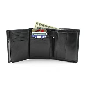 Leather Bifold Euro Clutch Wallet Multi Card Slots Coin Pouch Pocket Double Currency Divider Compartment made in Real Italian Cowhide Leather by Tony Perotti