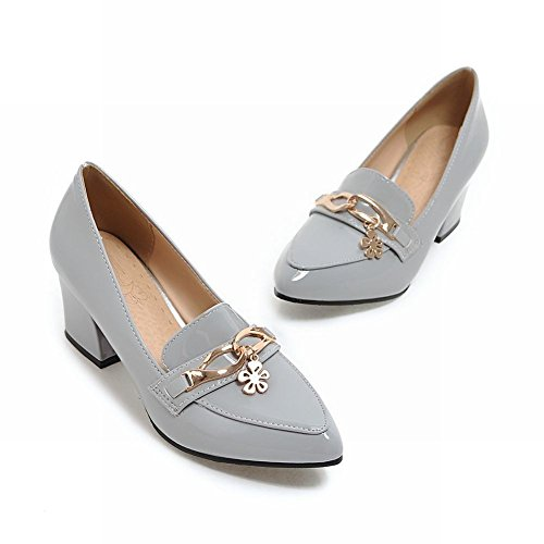 Latasa Womens Pointed-toe Chunky Heels Slip ons Loafers Shoes Gray 47GsUtIS0a