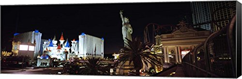 Statue in front of a hotel, New York New York Hotel, Excalibur Hotel And Casino, The Las Vegas Strip, Las Vegas, Nevada, USA by Panoramic Images Canvas Art Wall Picture, Museum Wrapped with Black Side (Las Hotel Vegas New York)