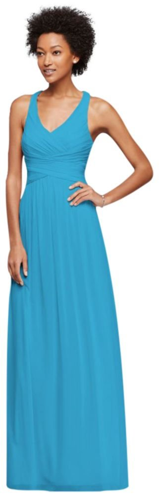 David's Bridal Mesh Long Bridesmaid Dress With Crisscross Back Style W10974, Malibu, 2