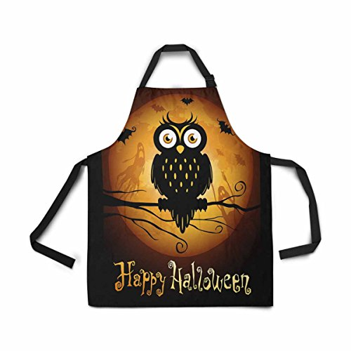 InterestPrint Adjustable Bib Apron for Women Men Girls Chef with Pockets, Halloween Owl Silhouette Moon Novelty Kitchen Apron for Cooking Baking Gardening Pet Grooming Cleaning
