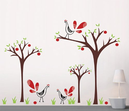 Pop Decors Removable Vinyl Art Wall Decals Mural for Nursery Room Peacock and Apple Trees