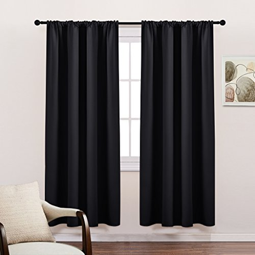 Living Room Blackout Curtains 72 Long - Solid Rod Pocket Thermal Insulated Energy Efficient Light Blocking Panels / Window Drapes by PONY DANCE, 42-inch by 72-inch, Black, 2 Pieces (Curtain Panels Long 72)