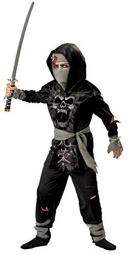 InCharacter Costumes, LLC Boys 8-20 Dark Zombie Ninja Tabard Set, Black/Grey, Size 8 - Ninja Zombie Costumes