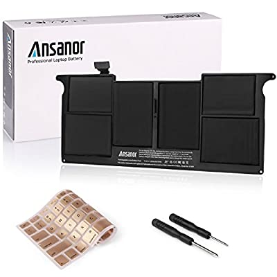 """Ansanor 5200mAh New Laptop Battery For Apple Macbook Air 11"""" inch A1406 A1495 A1370 (Mid 2011) A1465 (Mid 2012,Mid 2013,Early 2014,Early 2015) + Keyboard Cover [ 7.6V 5200mAh] A1406 by Ansanor"""