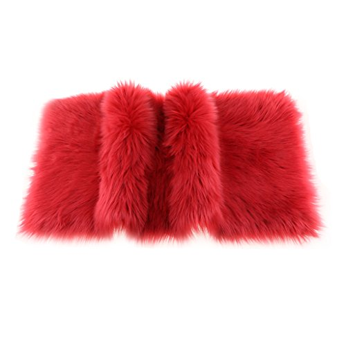 (Homyl Fluffy Sheepskin Rug Faux Fur Rug - Shaggy Silky Soft Area Rug Carpet Mat for Home Bedroom Floor Chair Windowsill Bedside Sofa Office Door - Wine Red, 80x50cm / 32x20 Inch)