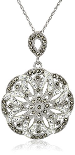 Sterling Silver Marcasite Flower (Sterling Silver, Marcasite, and Clear Crystal Flower Pendant Necklace, 18