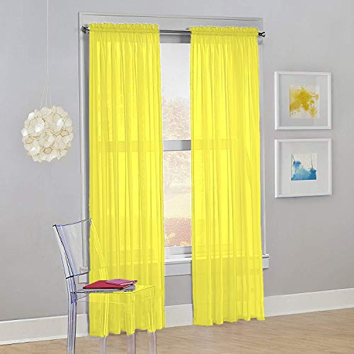"Decotex Set of 2 Sheer Voile Transparent Window Panel Curtain Drapes (54"" W X 63"" L, Yellow)"