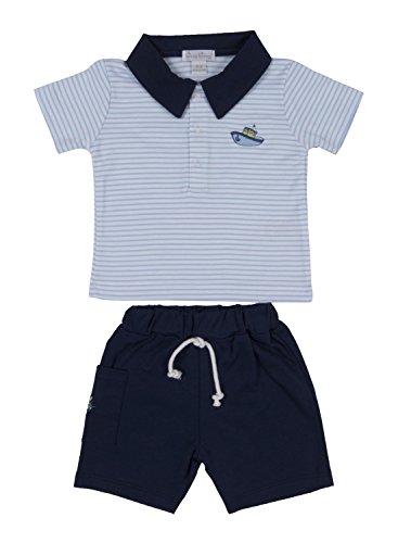 Kissy Kissy Baby-Boys Infant Away We Go Stripe Bermuda Short Set-Blue-3-6 Months