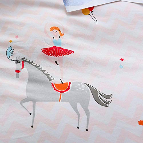 Circus Quilt Set - OTOB Kids Cartoon Unicorn Pattern Bedding Duvet Cover Queen for Boys Girls Bed Sets, Children Animal Circus Princess Bedding Set Full, Breathable Cotton Home Collections Sets (Pink White, Full/Queen)