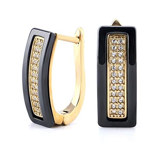 Hoop Earrings,Innocuous Healthy Ceramic Double Hoops, Crystal CZ Pierced Earrings For Women Girls (Black And ()