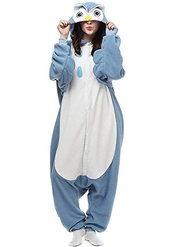 Women's Sleepwear Halloween Unisex Adult Pajamas Cosplay Costume Animal Onesie Sleepwear Nightwear (L (Height:5'7''-5'10''/170cm-178cm),Blue) ()