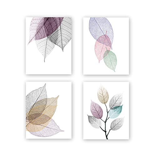 Chsdec Unframed Macro Leaves Texture Art Painting, Abstract Colorful Skeleton Leaf Veins Art Print Set of 4(8''x10'') Canvas Modern Art Picture Minimalist Foliage Plant Artwork