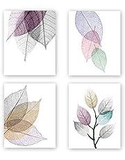 Unframed Macro Leaves Texture Art Painting, Abstract Colorful Skeleton Leaf Veins Art Print Set of 4(8''x10'') Canvas Modern Art Picture Minimalist Foliage Plant Artwork