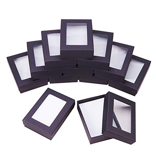 "NBEADS 30PCS Black Gift Boxes Presentation Box with Padding - Birthday Gift Box - Necklace Box Earring Box Ring Box Cardboard Jewelry Boxes 3.54""x2.56""x1.1"""