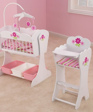 Kidkraft Floral Fantasy Doll Furniture Set Cradle and High Chair, Baby & Kids Zone