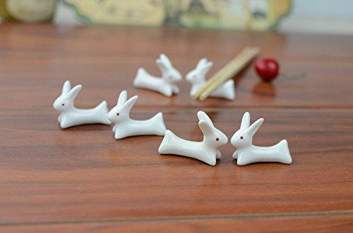 VANCORE 8 Pcs Set Cute Rabbit Ceramic Chopsticks Rest Rack by VANCORE (Image #3)