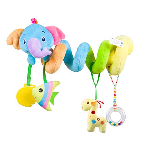 caterbee Car Seat Toys, Baby Activity Spiral Plush Stroller bar Toy Accessories, Crib Toys with Bell for boy or Girl, Hangings Rattle Toy, (Blue-Elephant)