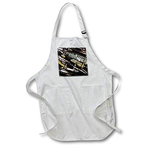 3dRose Alexis Photography - Objects Cold Steel - Cold steel - decorated and ornamented dirks and daggers in style - Medium Length Apron with Pouch Pockets 22w x 24l (apr_270858_2)
