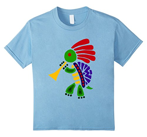 Kokopelli Adult T-shirt - Kids Smiletodaytees Funky Turtle Dancing Kokopelli T-shirt 10 Baby Blue