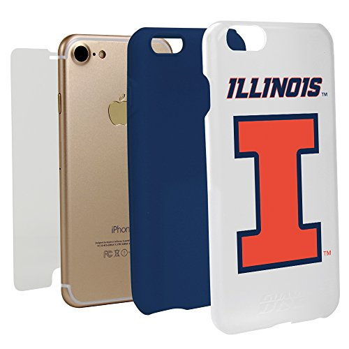 White Guard Dog Hybrid Case for iPhone 7/8 and Guard Glass Screen Protector (Illinois Fighting Illini)
