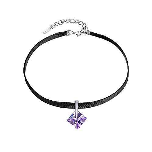 Xuping Luxury Square Synthetic CZ Women Choker Necklace Chain Jewelry with Box Women Black Friday Gifts (Violet)