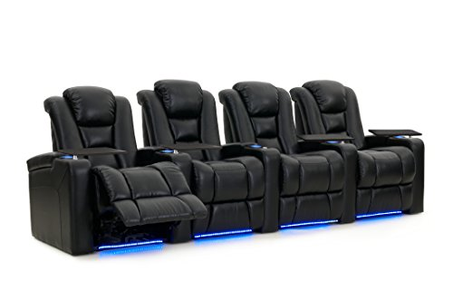 Octane Seating Mega XL950 Home Theater Seats - Black Bonded Leather - Power Recline - Row of 4