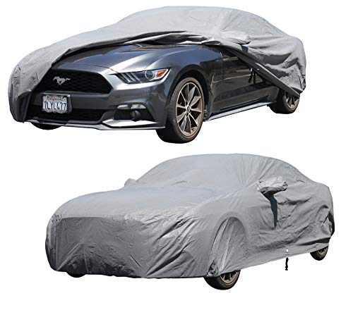 XtremeCoverPro Custom Car Cover Fit Series for Ford Mustang Coupe Convertible 2015 2016 2017 2018 2019 – UV Resistant – Breathable Fabric (Waterproof Platinum Series Gray) ()